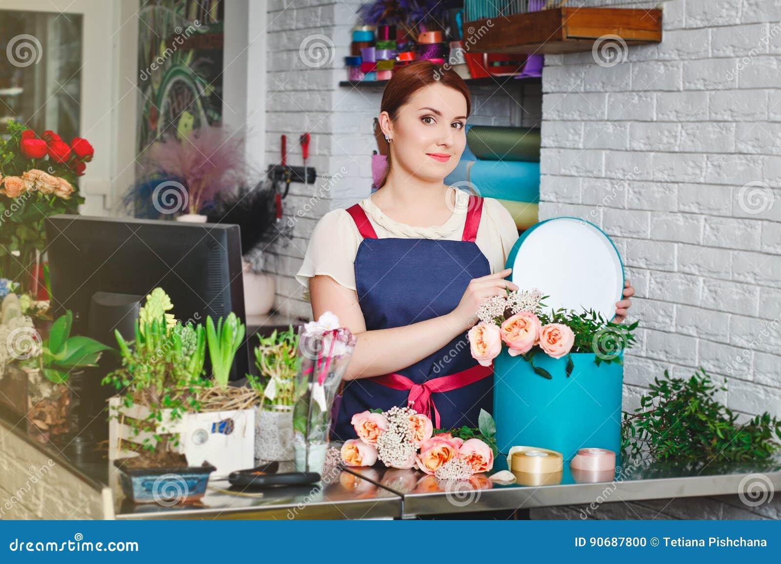 工作在花店的女孩