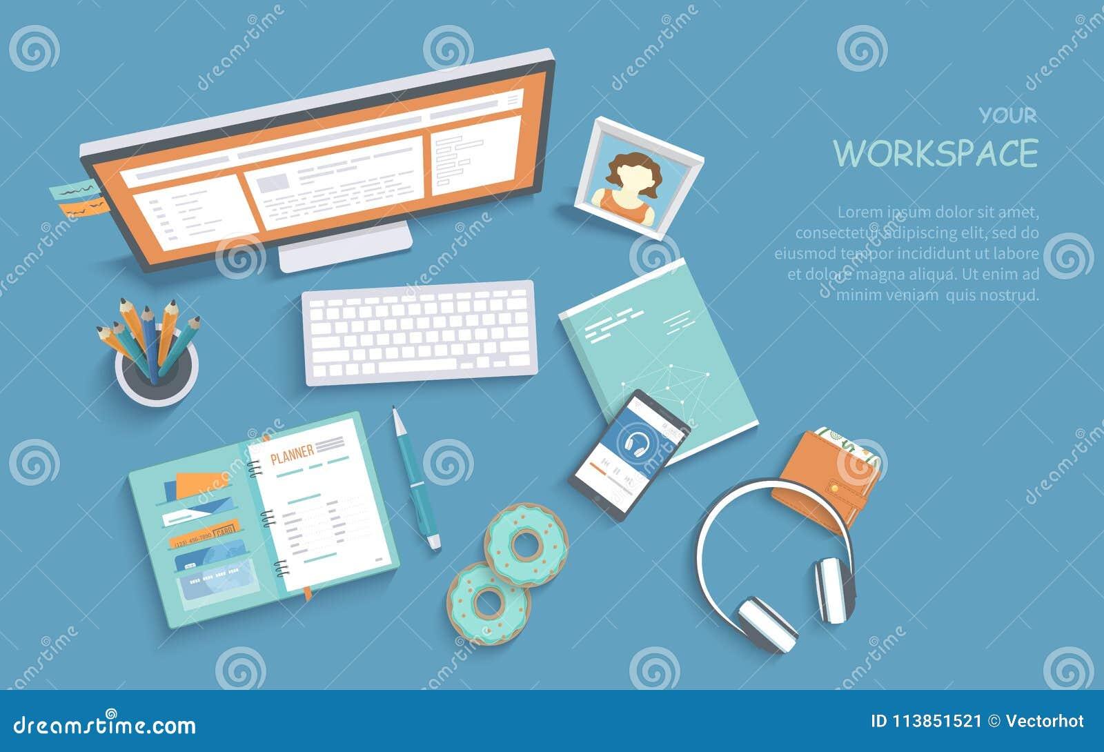 工作场所供应顶视图,显示器,键盘 现代和时髦的工作区,工作的组织在家