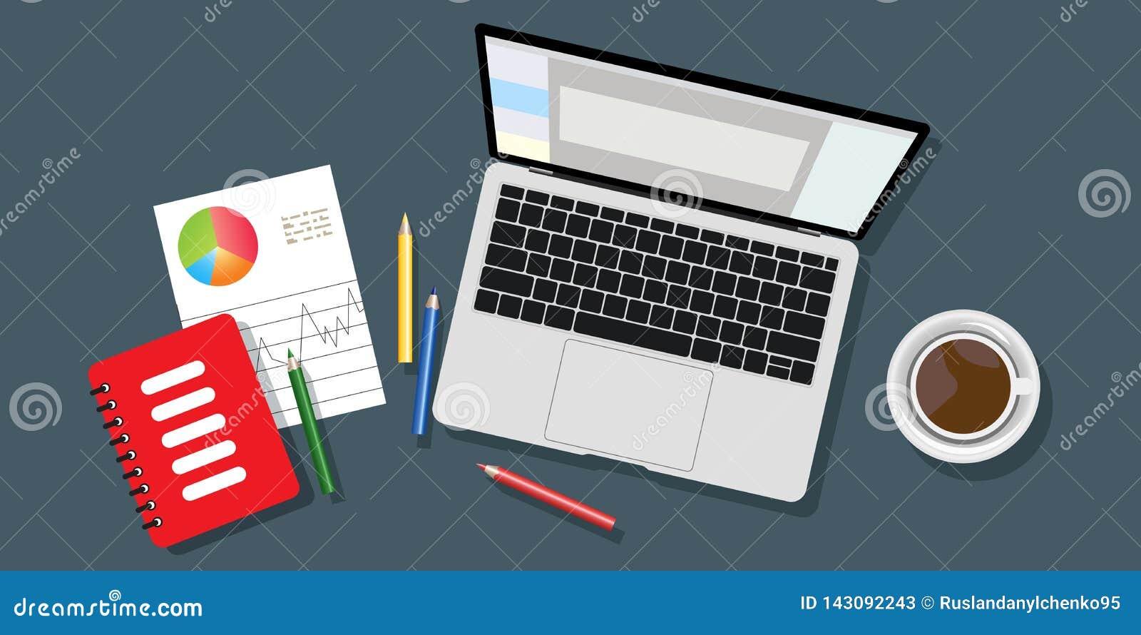 工作场所背景的顶视图,显示器,键盘,笔记本,耳机,电话,文件,文件夹,调度程序,铅笔,