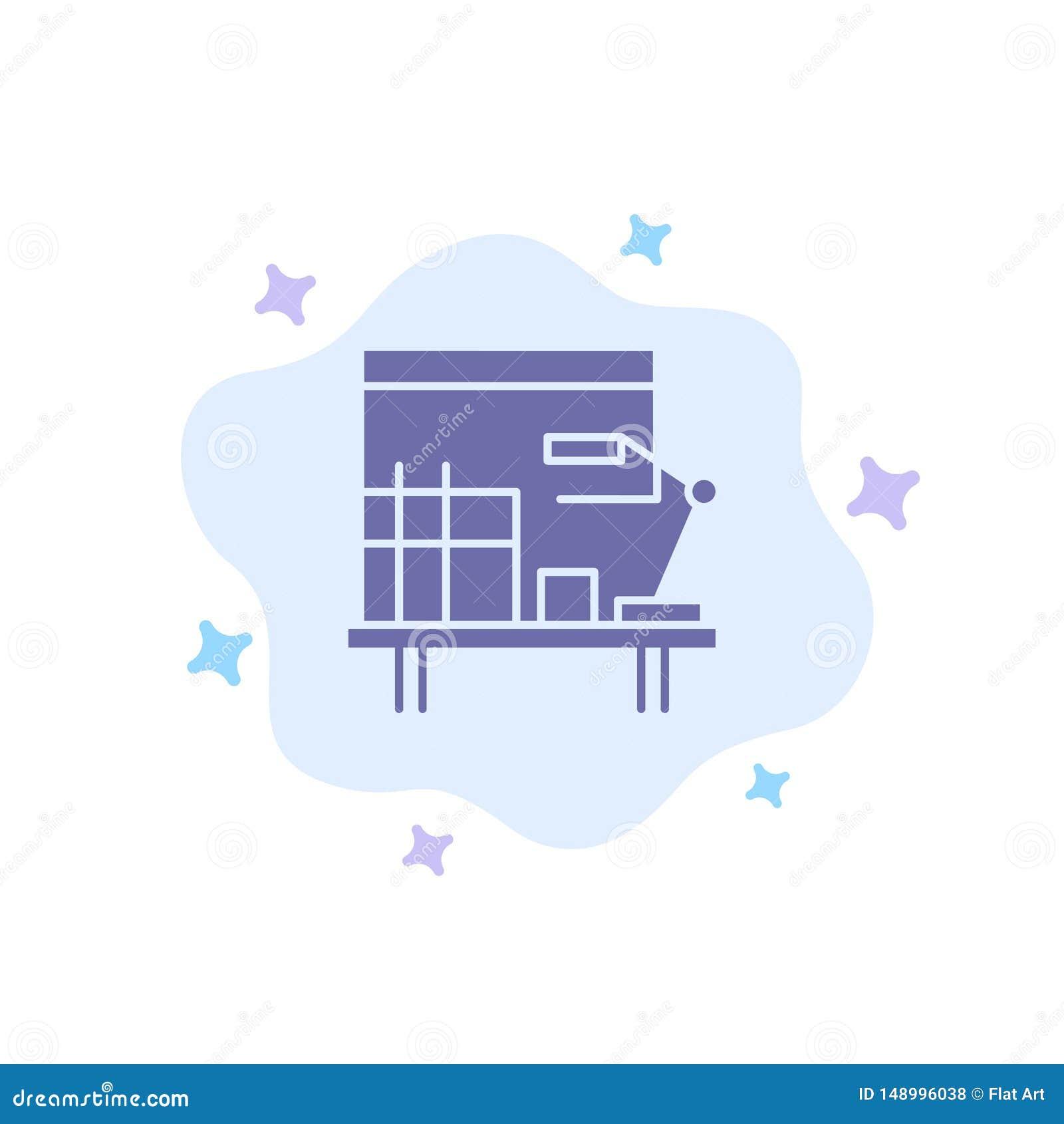 工作场所,书桌,办公室,在抽象云彩背景的表蓝色象
