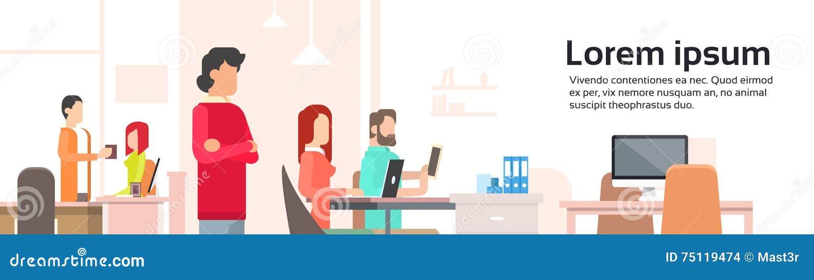 工作Coworking中心开放办公室空间横幅的人们
