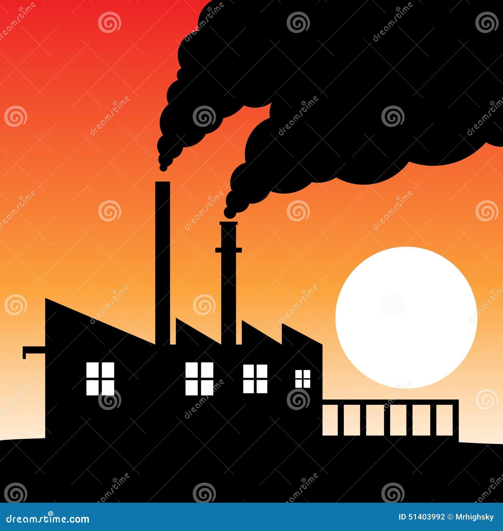 工厂剪影大气污染