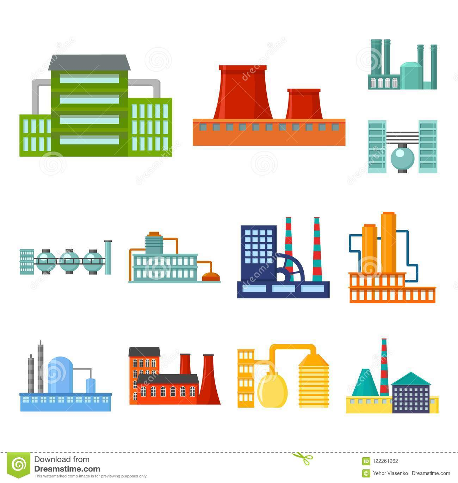工厂和设施在集合汇集的动画片象的设计 工厂和设备传染媒介标志股票图片