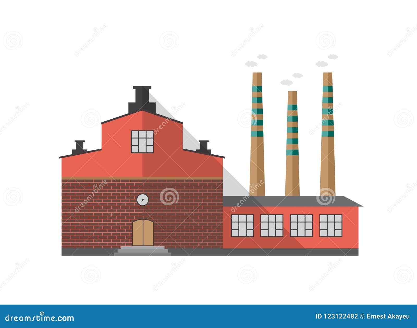 工厂现代工业砖瓦房有散发烟的管子的隔绝在白色背景 正面图