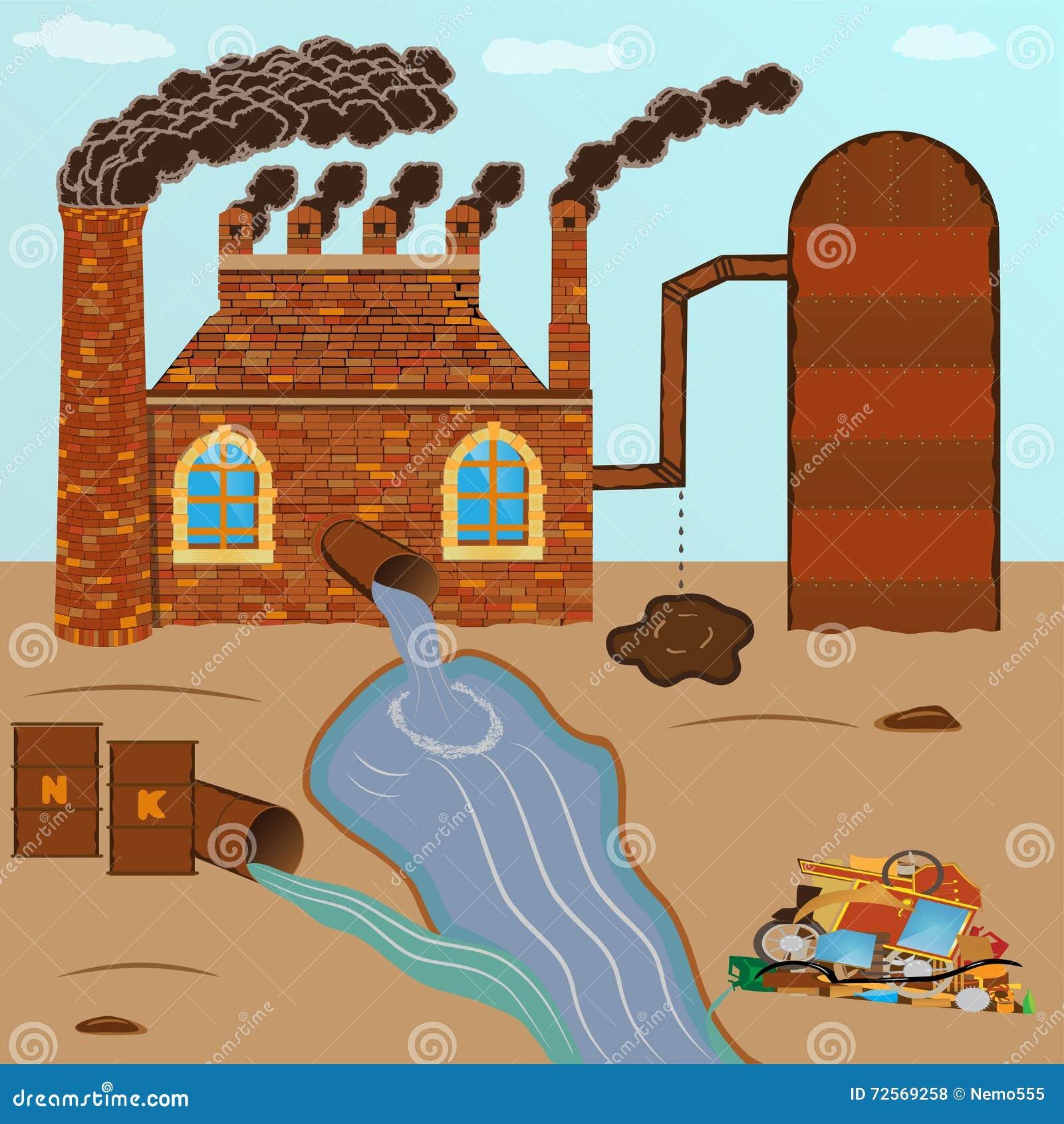 工厂砖抽管子,污染通过一个管子倾吐与