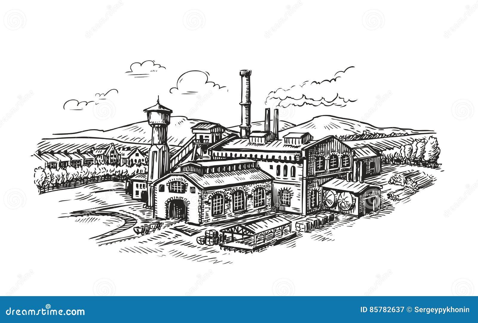 工厂设备,工厂剪影 葡萄酒大厦传染媒介例证图片