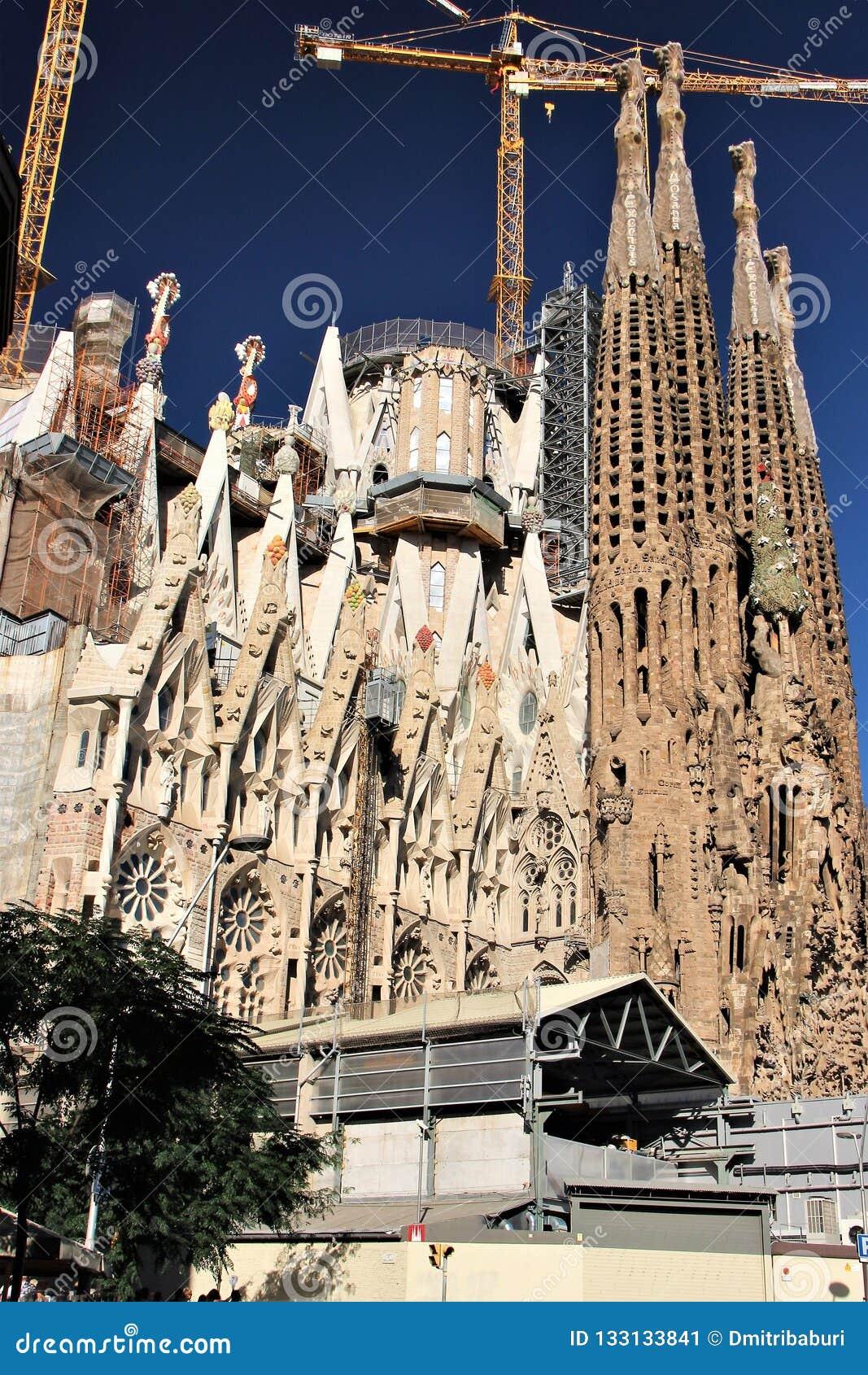工地工作的看法,在一一百年期间持续 巴塞罗那,西班牙,拉萨格拉达Familia