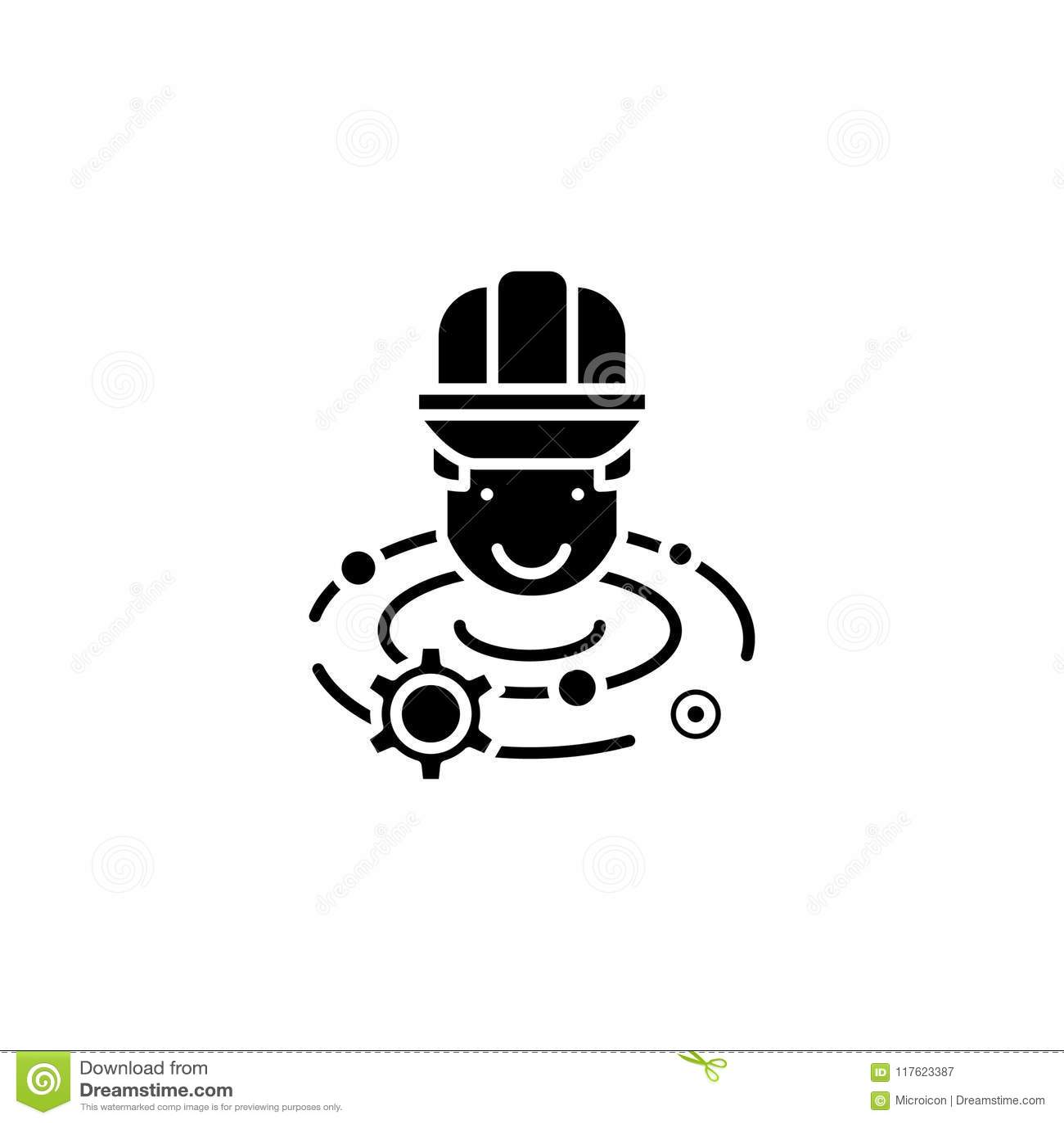 工程师突发的灵感黑色象概念 设计突发的灵感平的传染媒介标志,标志,例证