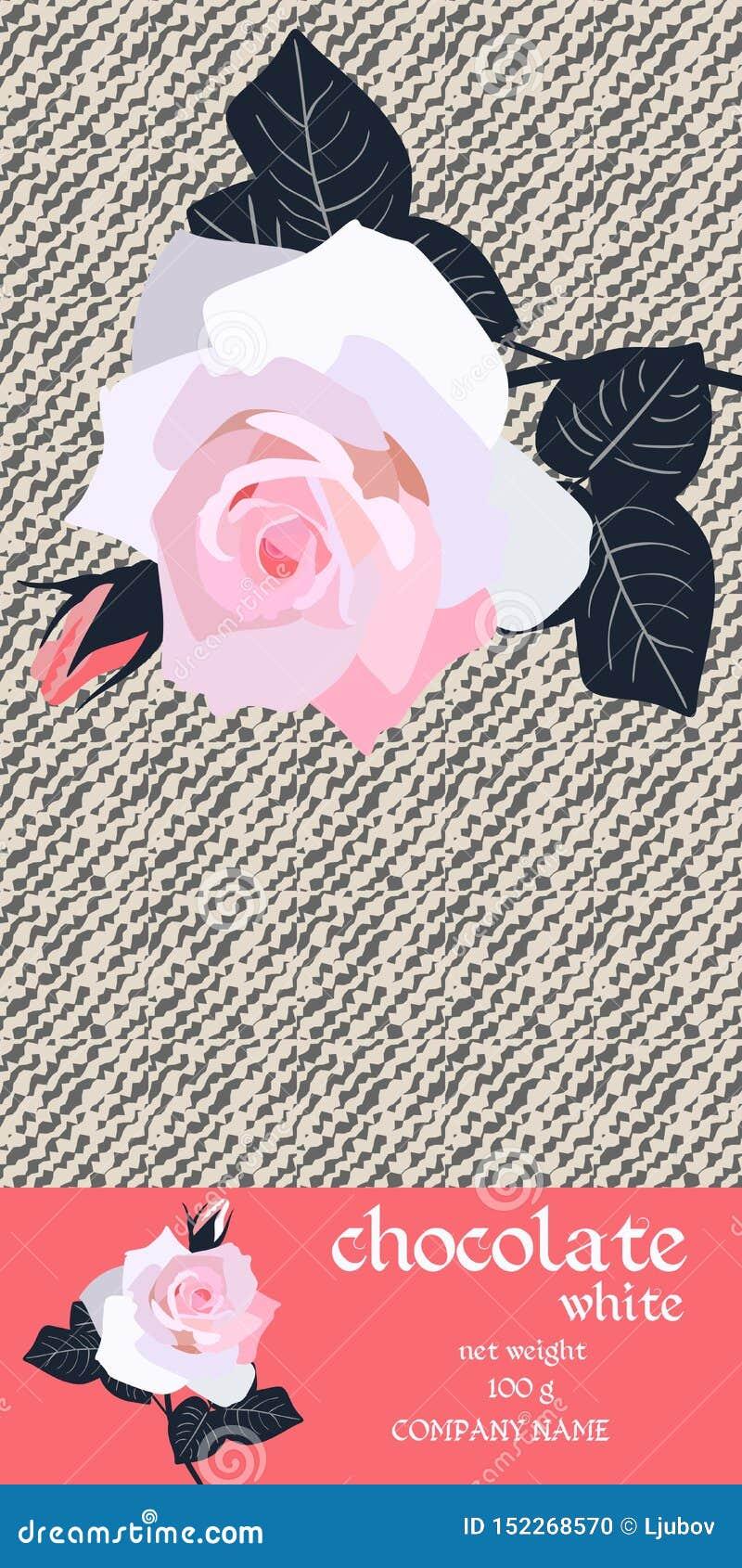 巧克力块与桃红色玫瑰分支的成套设计在风格化轻的牛仔布背景的 容易的编辑可能的包装的模板