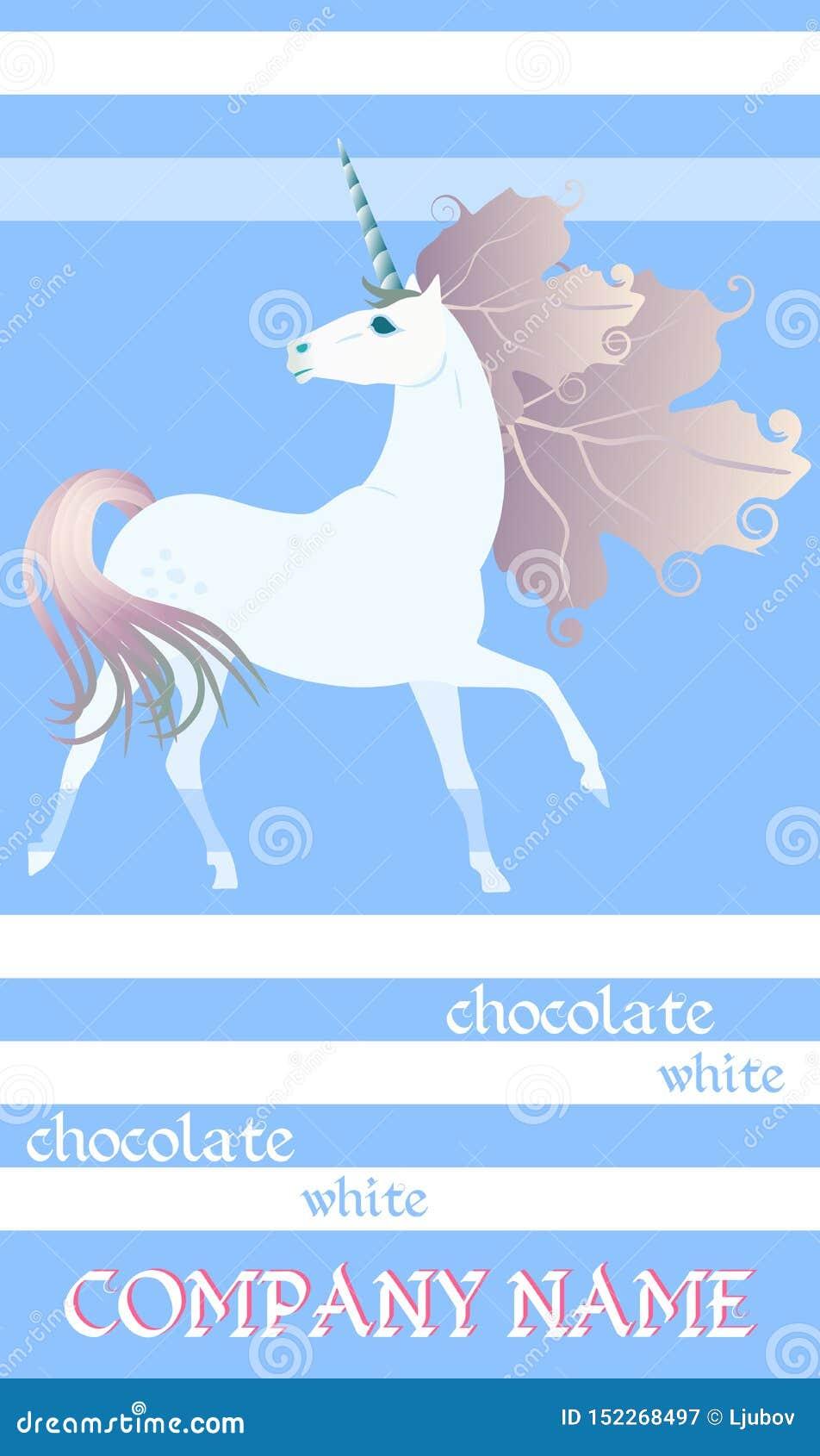 巧克力块与逗人喜爱的独角兽的成套设计在镶边蓝色和白色背景 容易的编辑可能的包装的模板