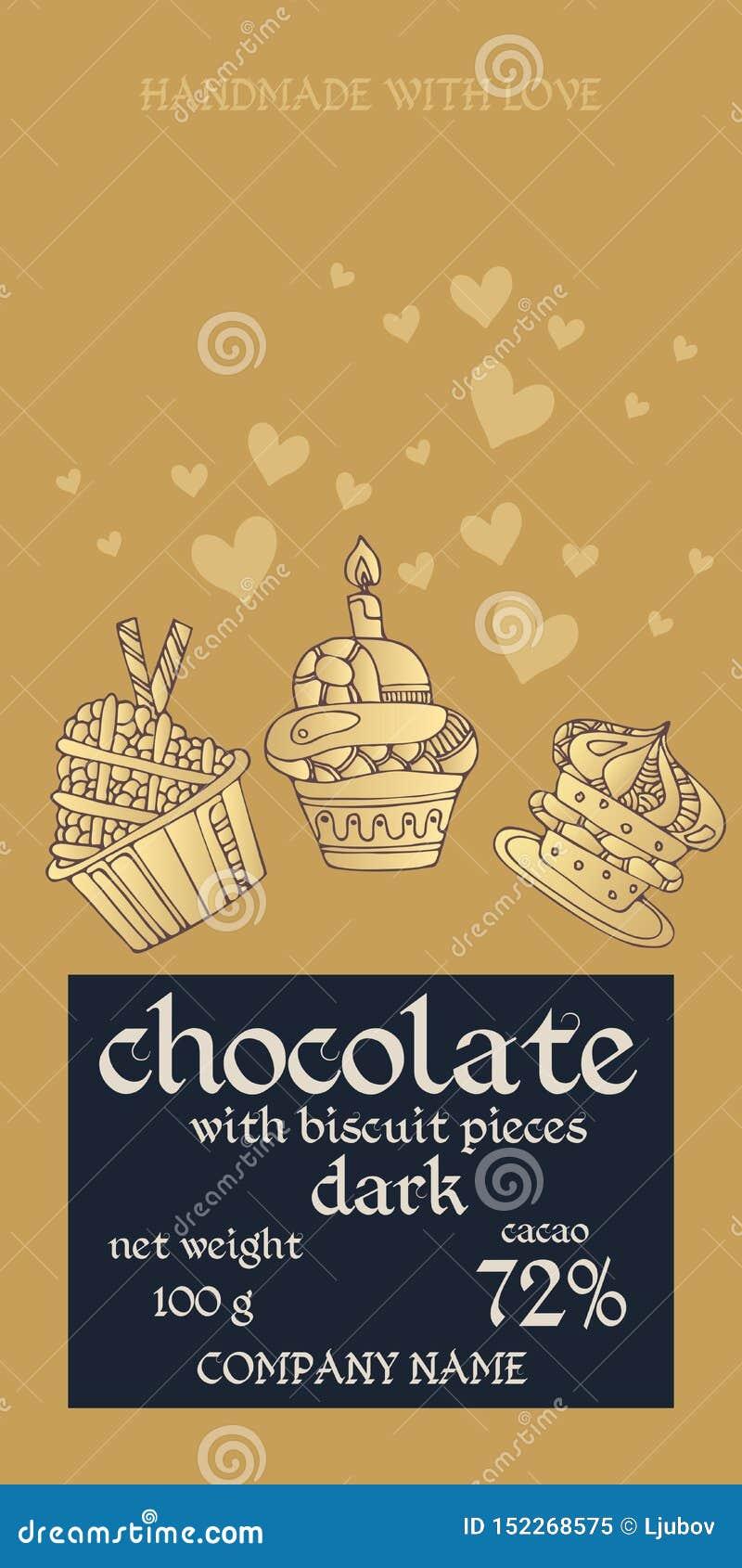 巧克力块成套设计用杯形蛋糕和心脏在金黄背景 邀请或贺卡 容易编辑可能包装