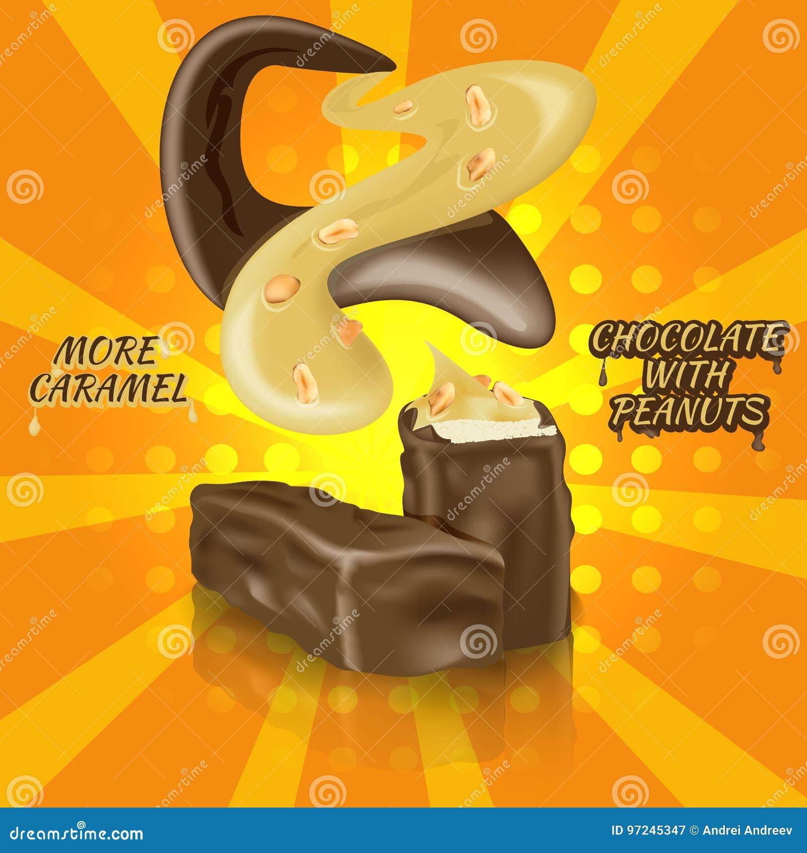 巧克力块用牛乳糖、焦糖和花生