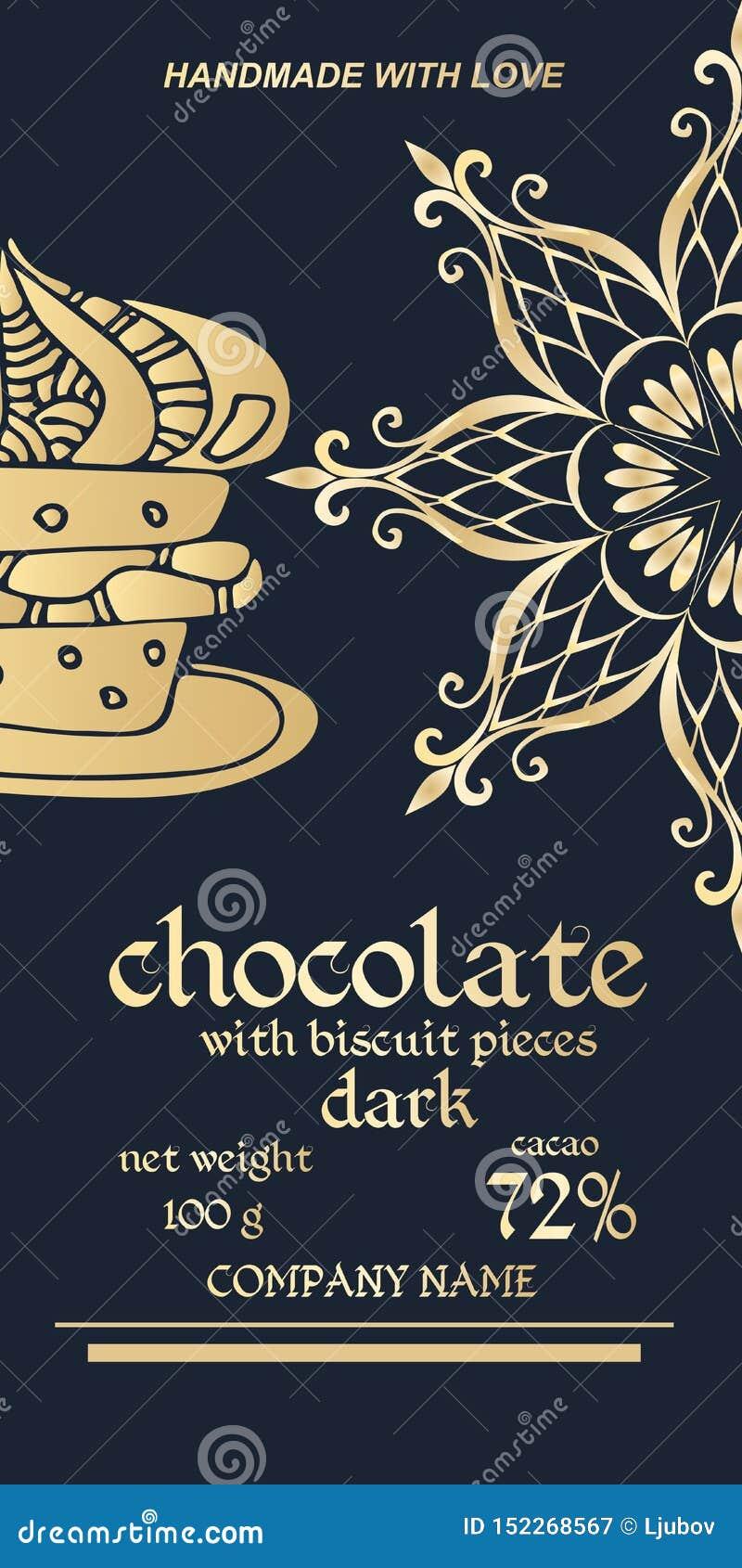 巧克力块皇家金黄成套设计  容易的编辑可能的包装的模板 一半雪花或坛场-花