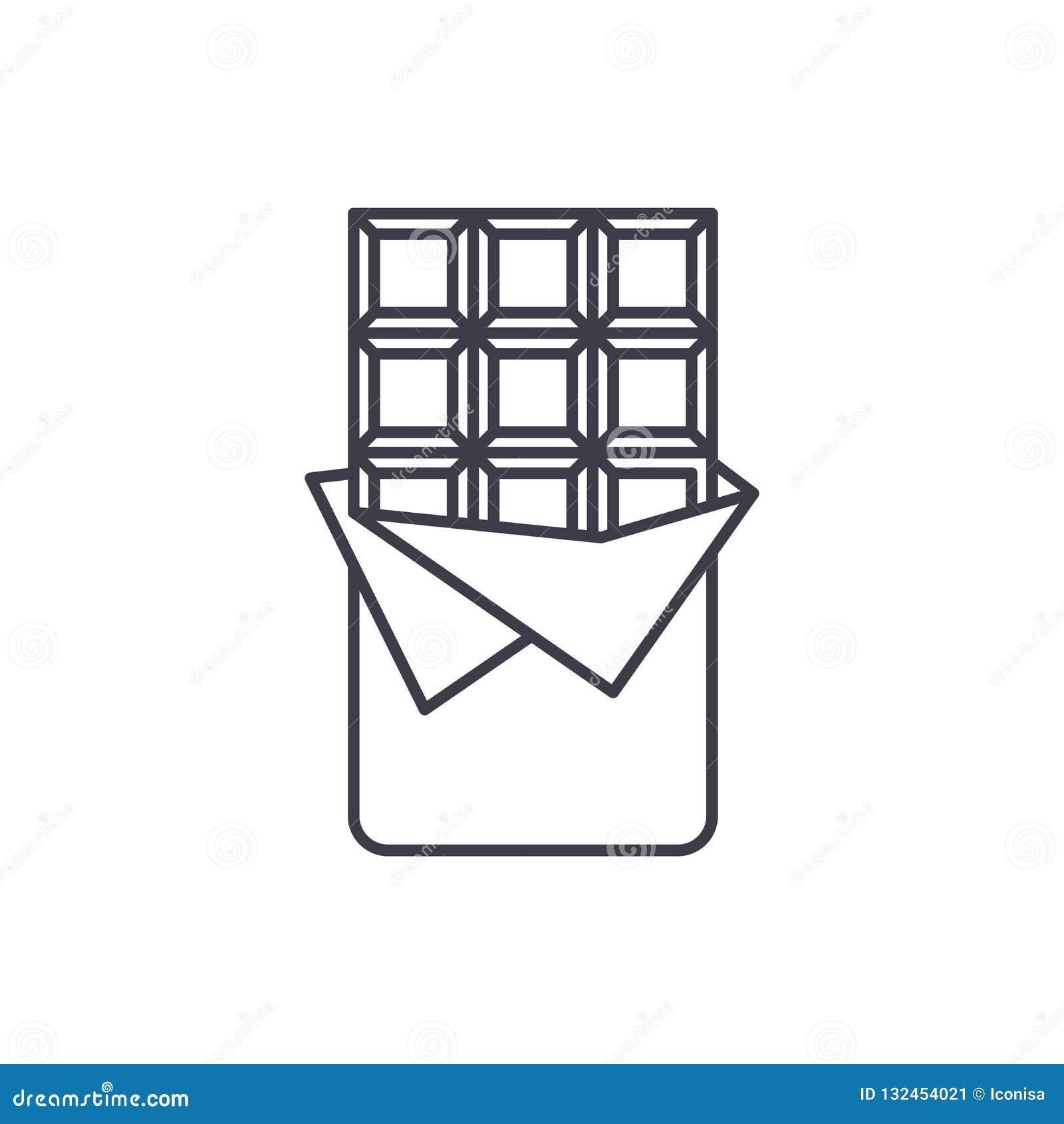 巧克力块线象概念 巧克力块传染媒介线性例证,标志,标志