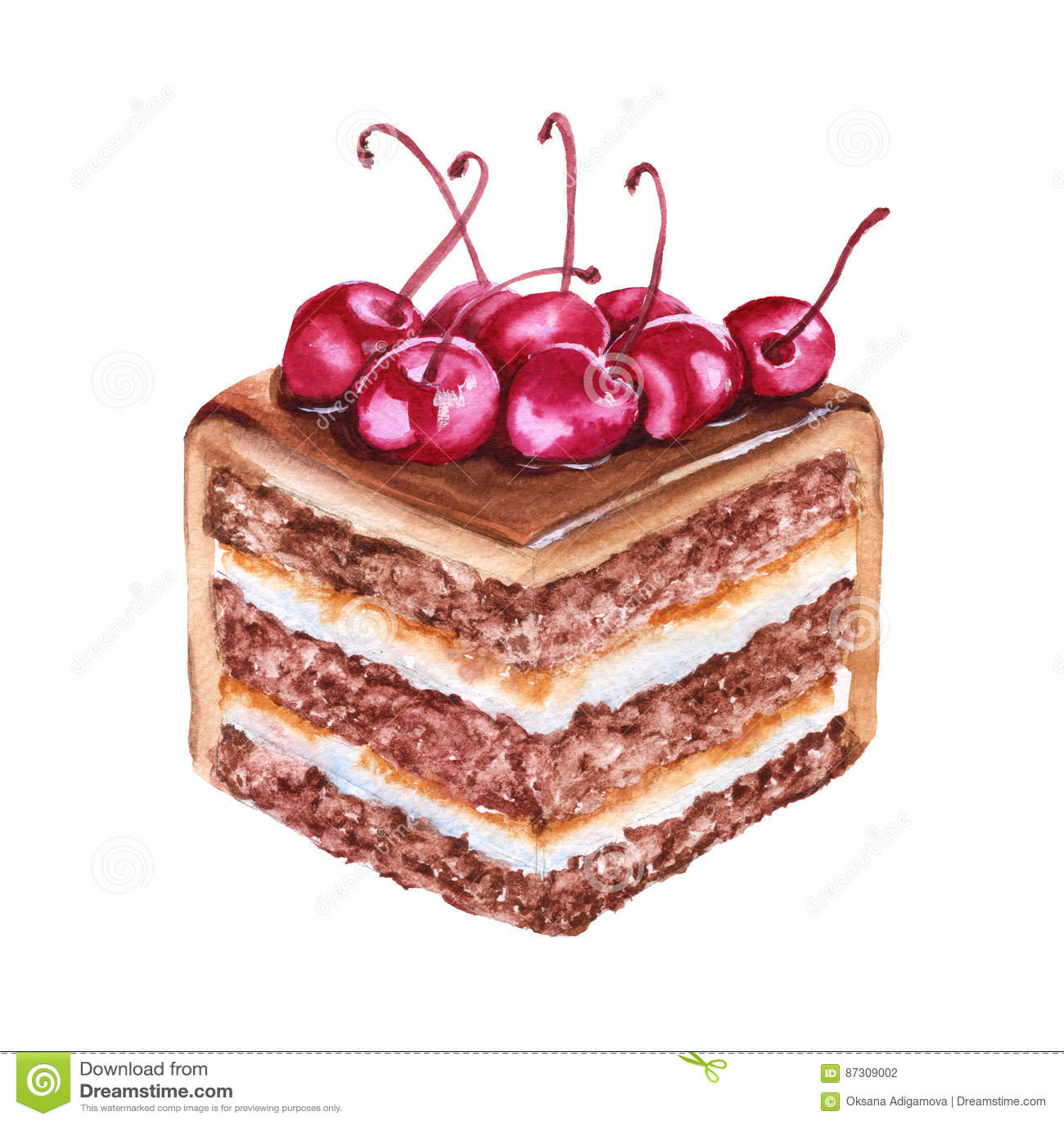 巧克力蛋糕片断用樱桃 背景查出的白色