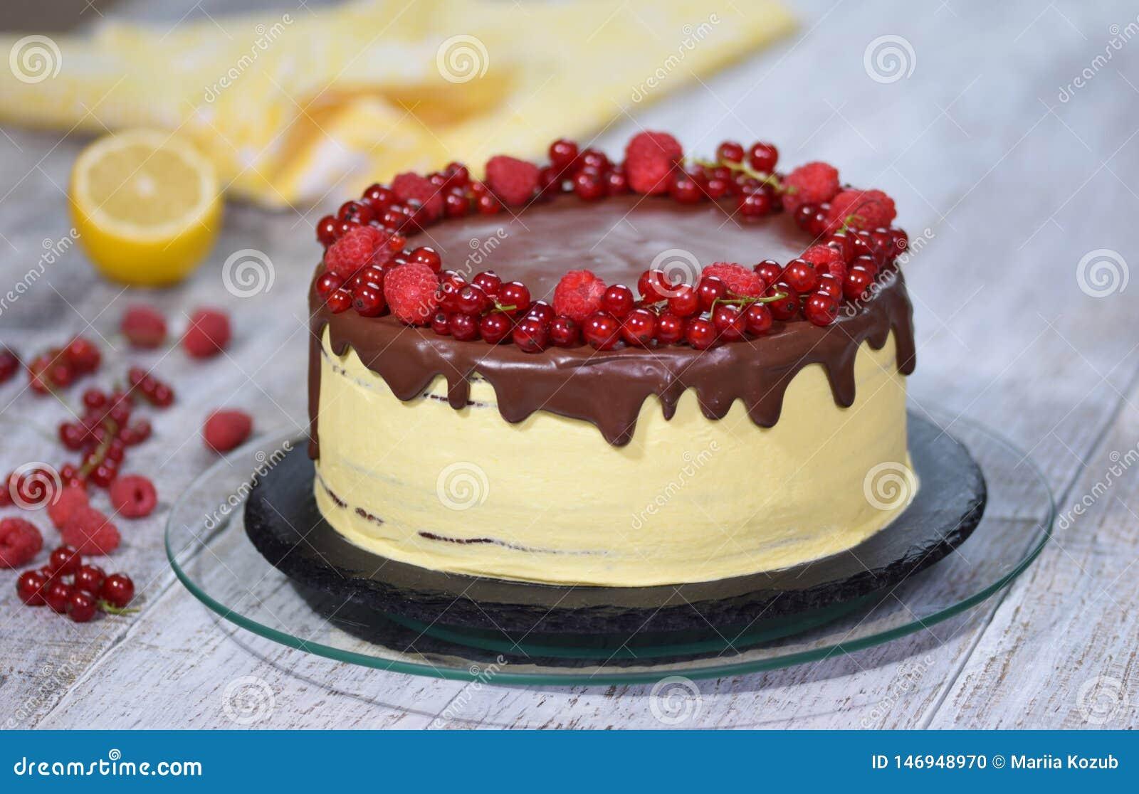 巧克力蜂蜜夹心蛋糕Medovik用夏天莓果