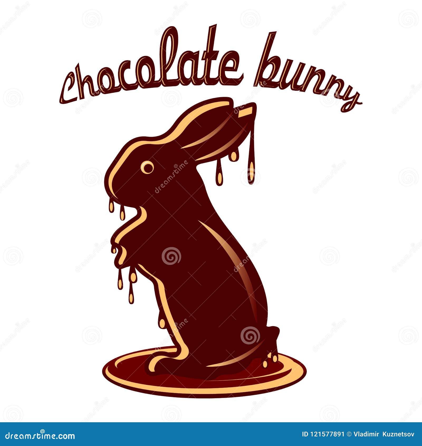 巧克力野兔熔化了与巧克力小滴,在白色的动画片