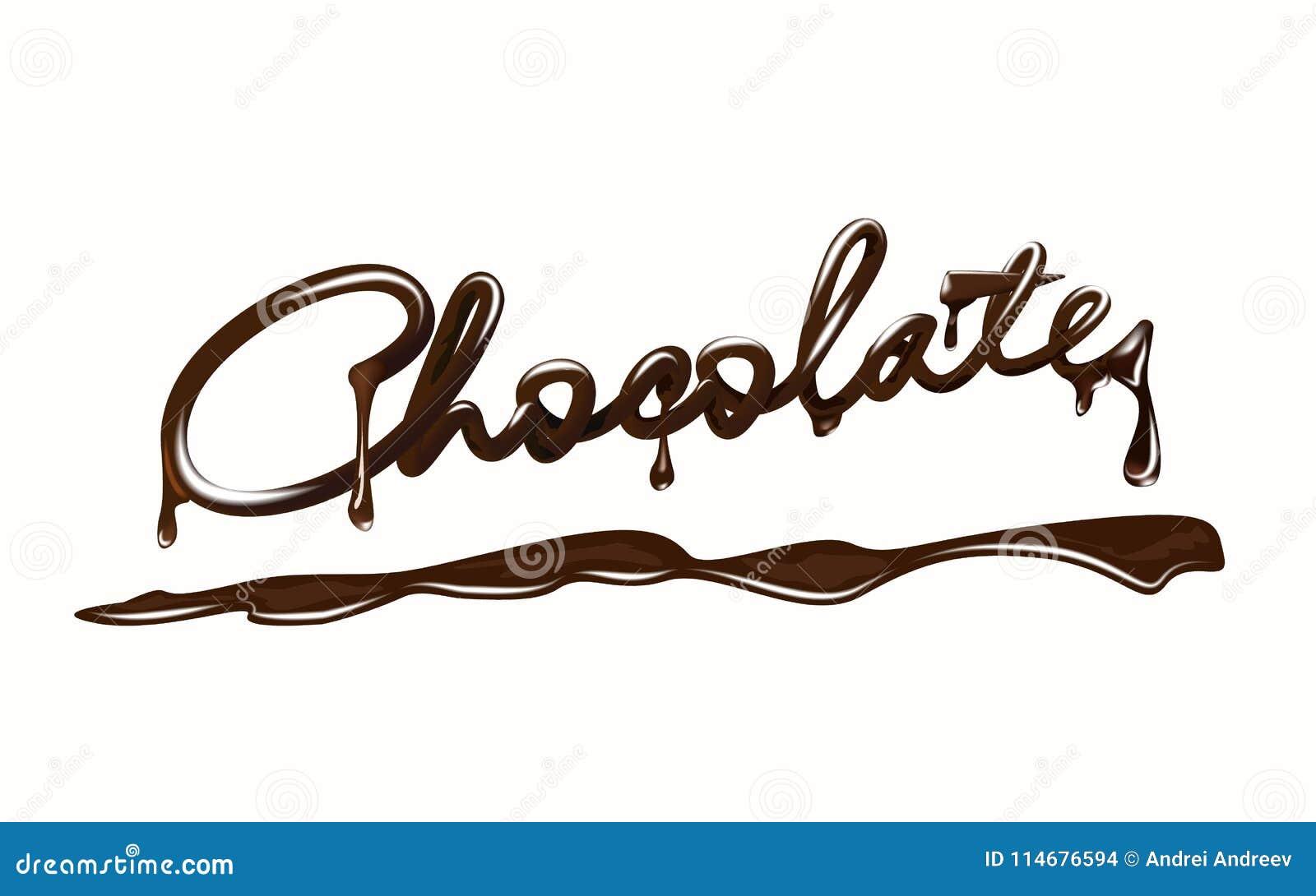 巧克力 现实巧克力块字法,与下落和飞溅 背景查出的白色