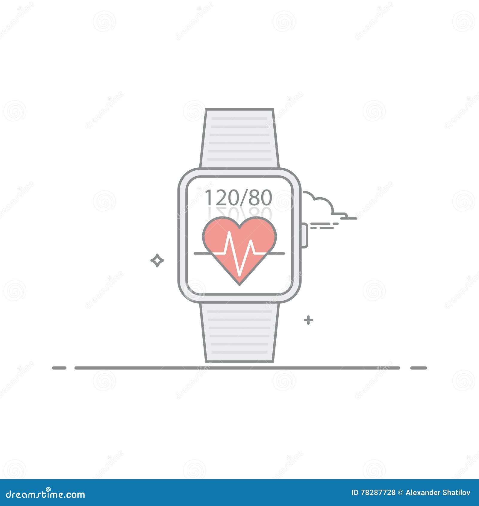 巧妙的手表 跟随健康征兆 脉冲和心脏压力 流动应用接口的概念