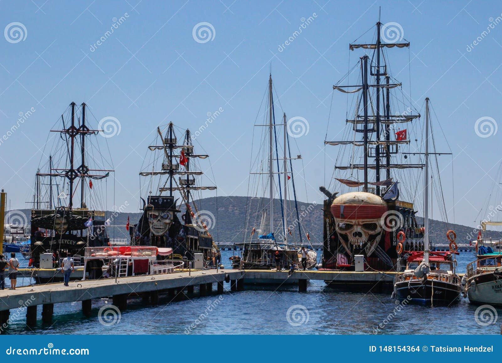 巨大的航行的旅游船 海盗船-造纸机