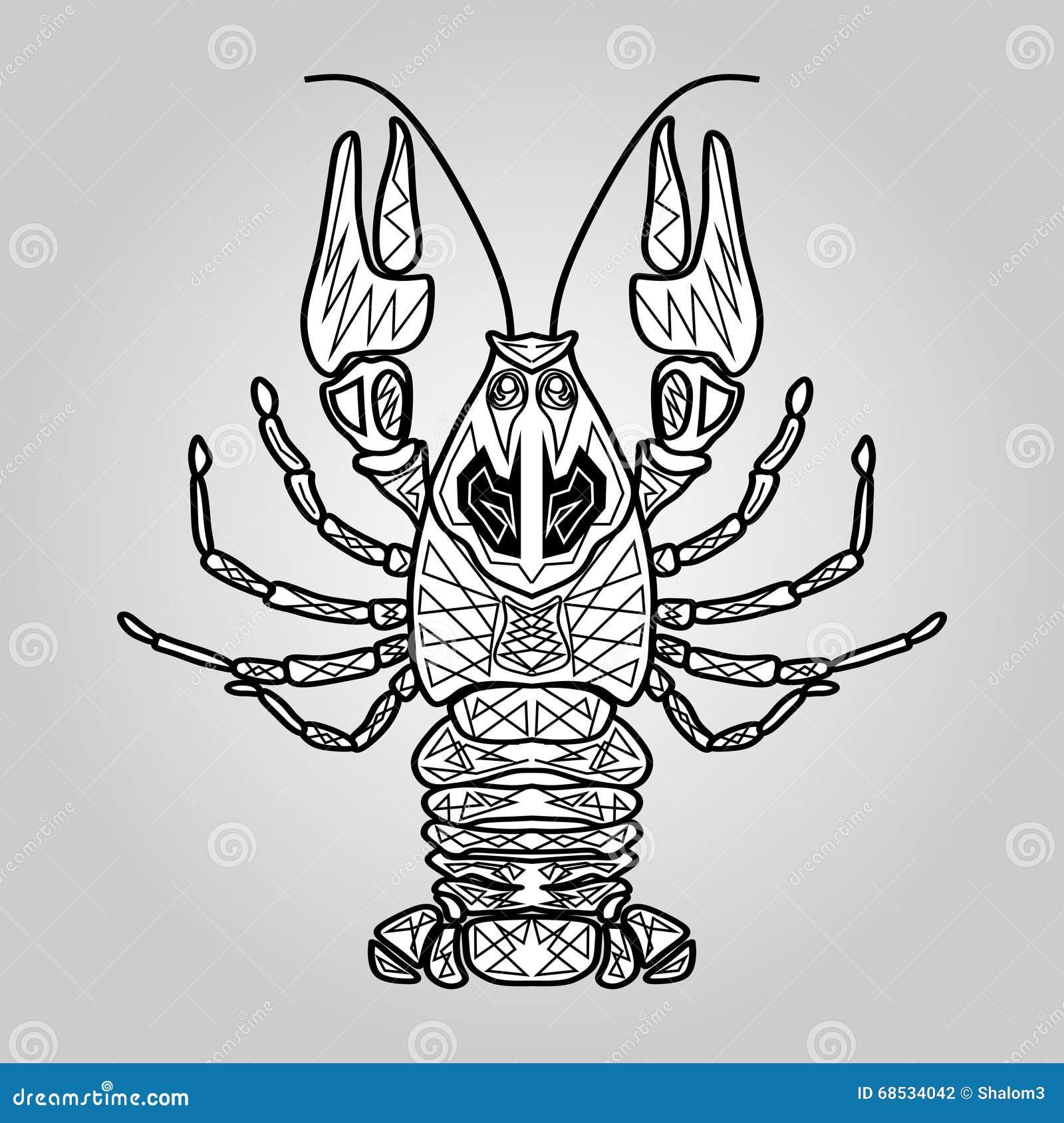 巨蟹星座,白色和黑相称装饰图画,有用当纹身花刺模板,海鲜装饰,鱼