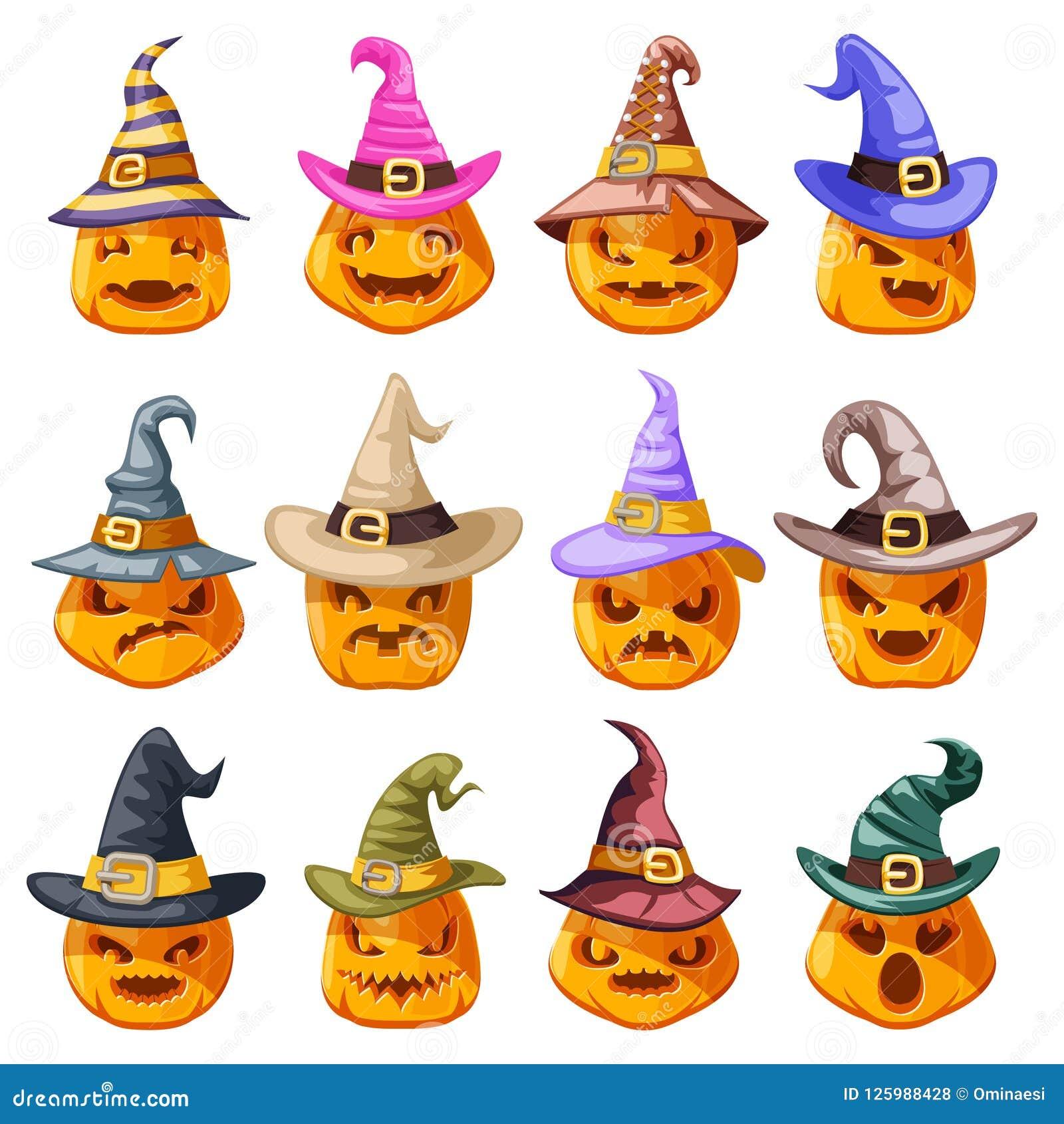 巫婆帽子装饰万圣夜起重器o灯笼南瓜可怕面孔微笑emoji象被设置的被隔绝的动画片设计传染媒介