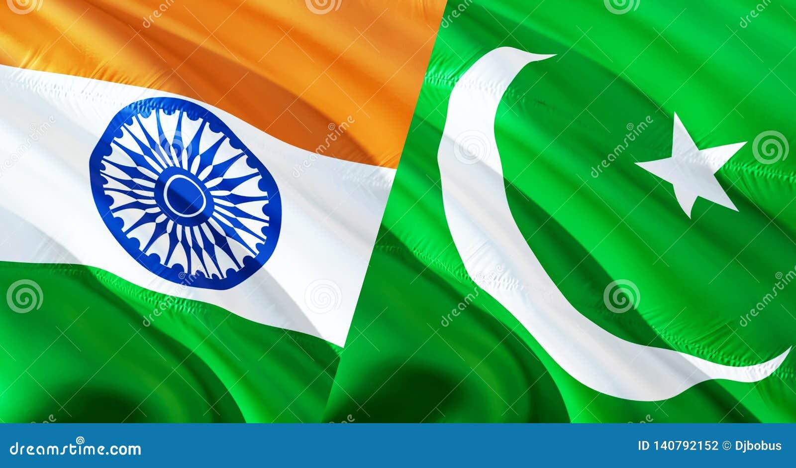 巴基斯坦和印度旗子 挥动的旗子设计,3D翻译 巴基斯坦印度旗子图片,墙纸图象 克什米尔印度人因藤