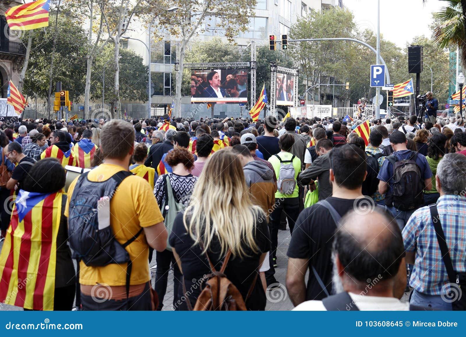 巴塞罗那,卡塔龙尼亚,西班牙, 2017年10月27日:人们庆祝表决在Parc Ciutadella附近宣告Catalunya的独立