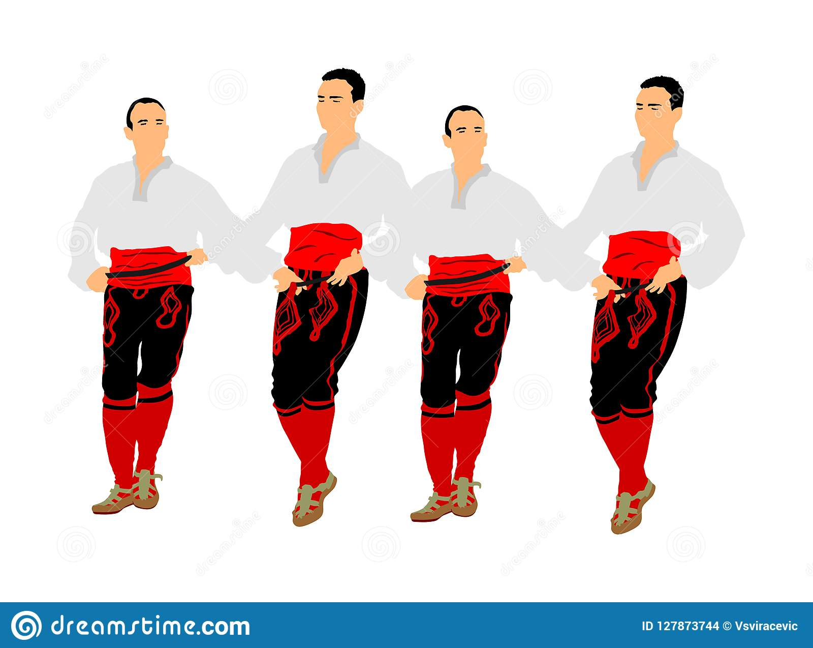 巴尔干舞蹈家导航在白色背景隔绝的例证 民间舞kolo在东欧 希腊Evzone传统跳舞