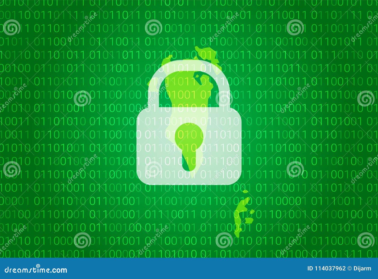巴林映射 例证有锁和二进制编码背景 阻拦的互联网,病毒攻击,保密性保护