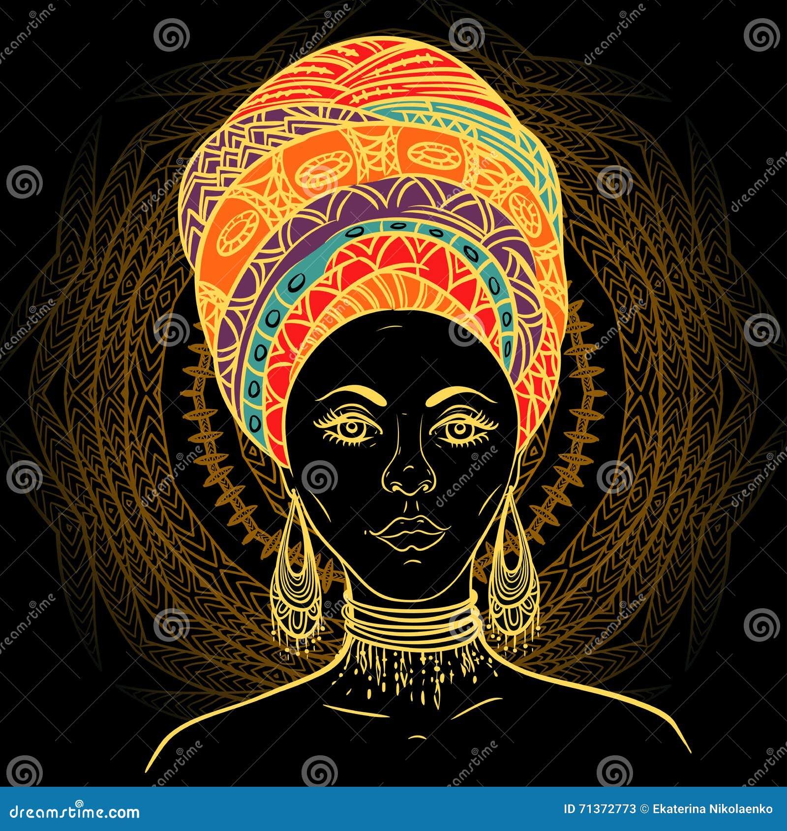 头巾的美丽的非洲妇女在华丽坛场圆的样式