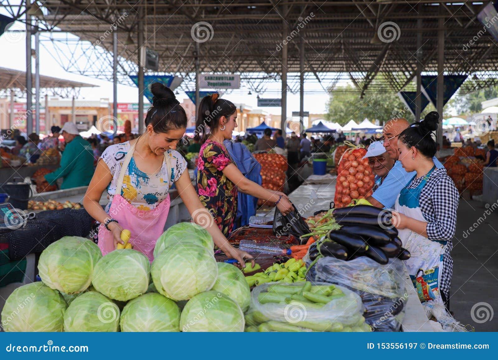 市场场面在撒马而罕,乌兹别克斯坦
