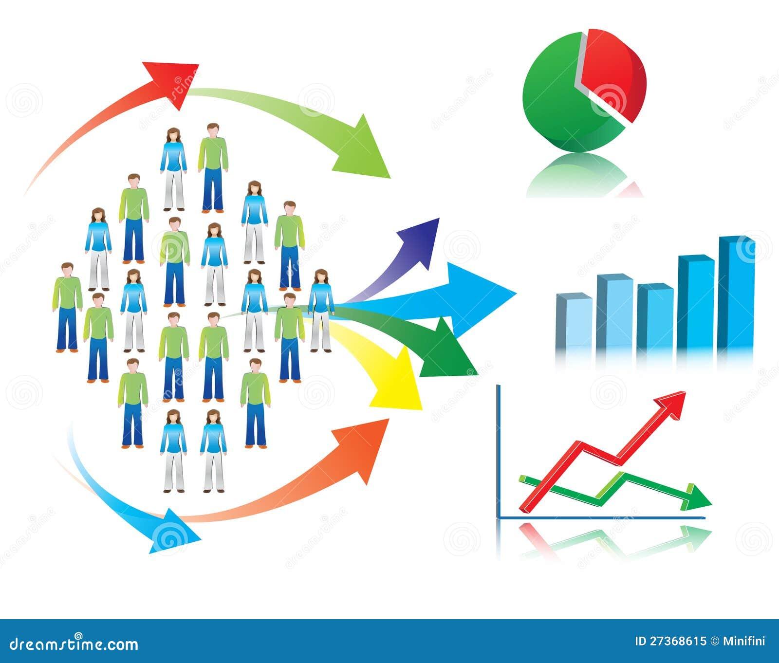 市场研究和统计数据的例证