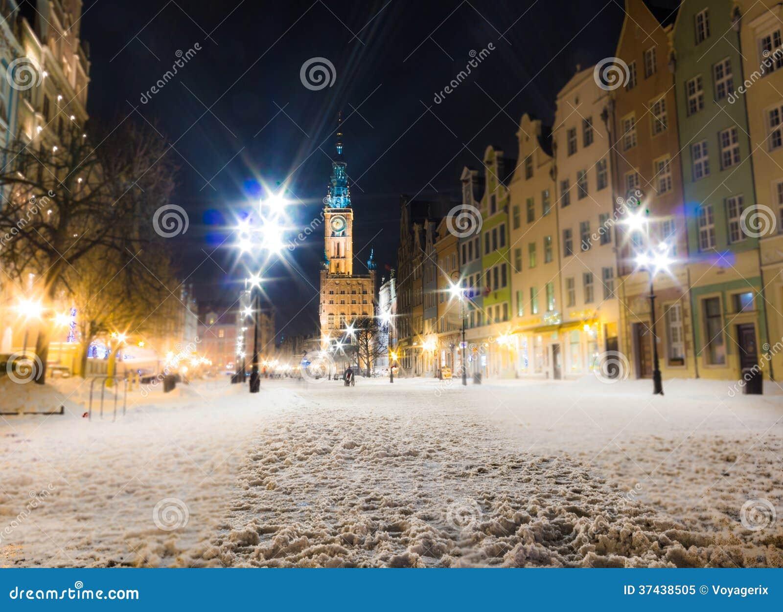 市政厅老镇格但斯克波兰欧洲.冬天夜风景.图片