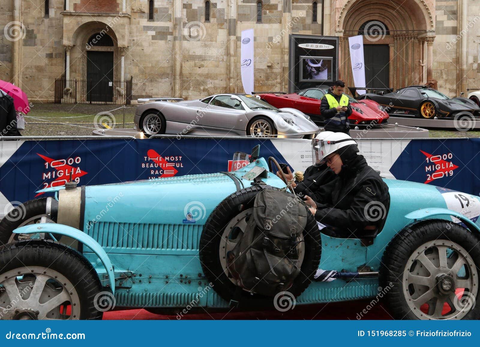 布加迪汽车,Mille Miglia,历史的赛车,摩德纳,2019年5月
