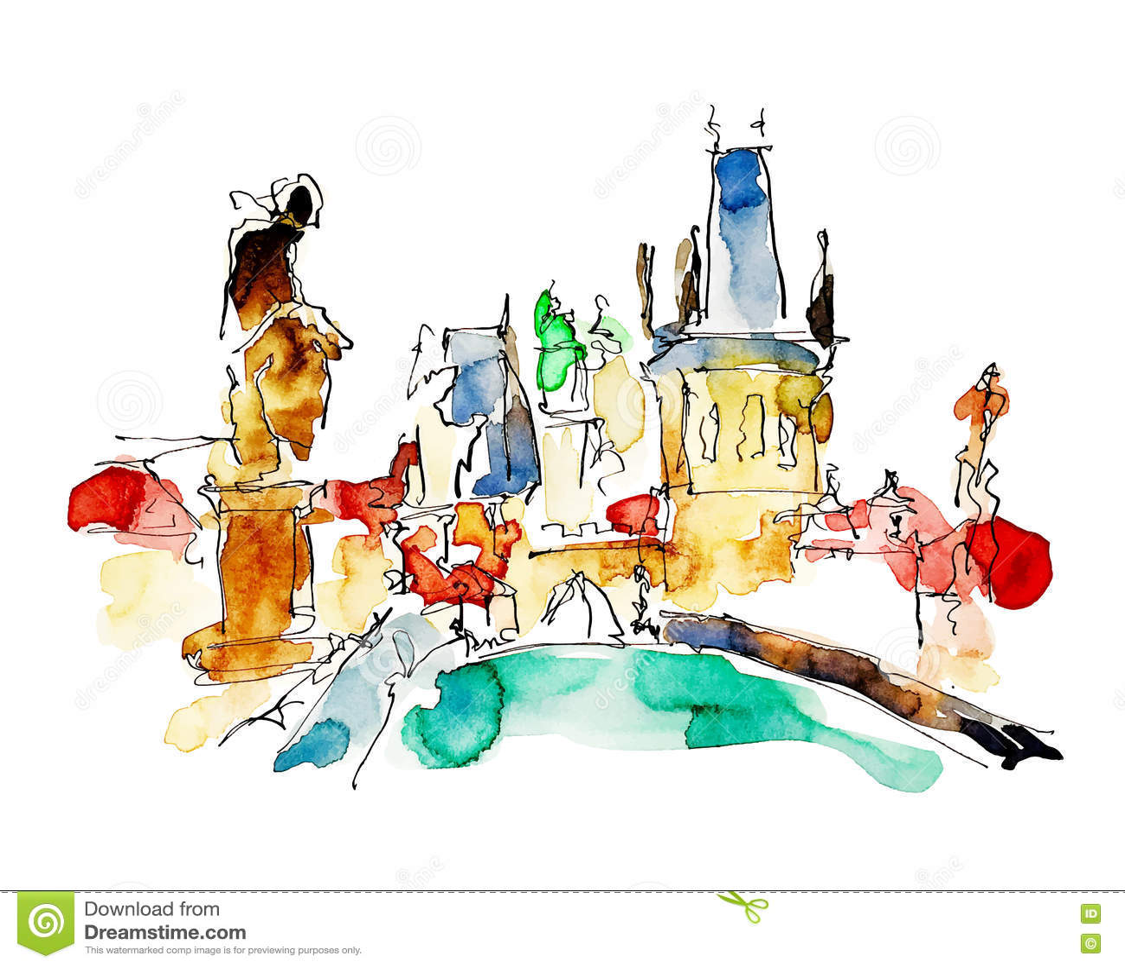 布拉格捷克上面水彩徒手画的略图