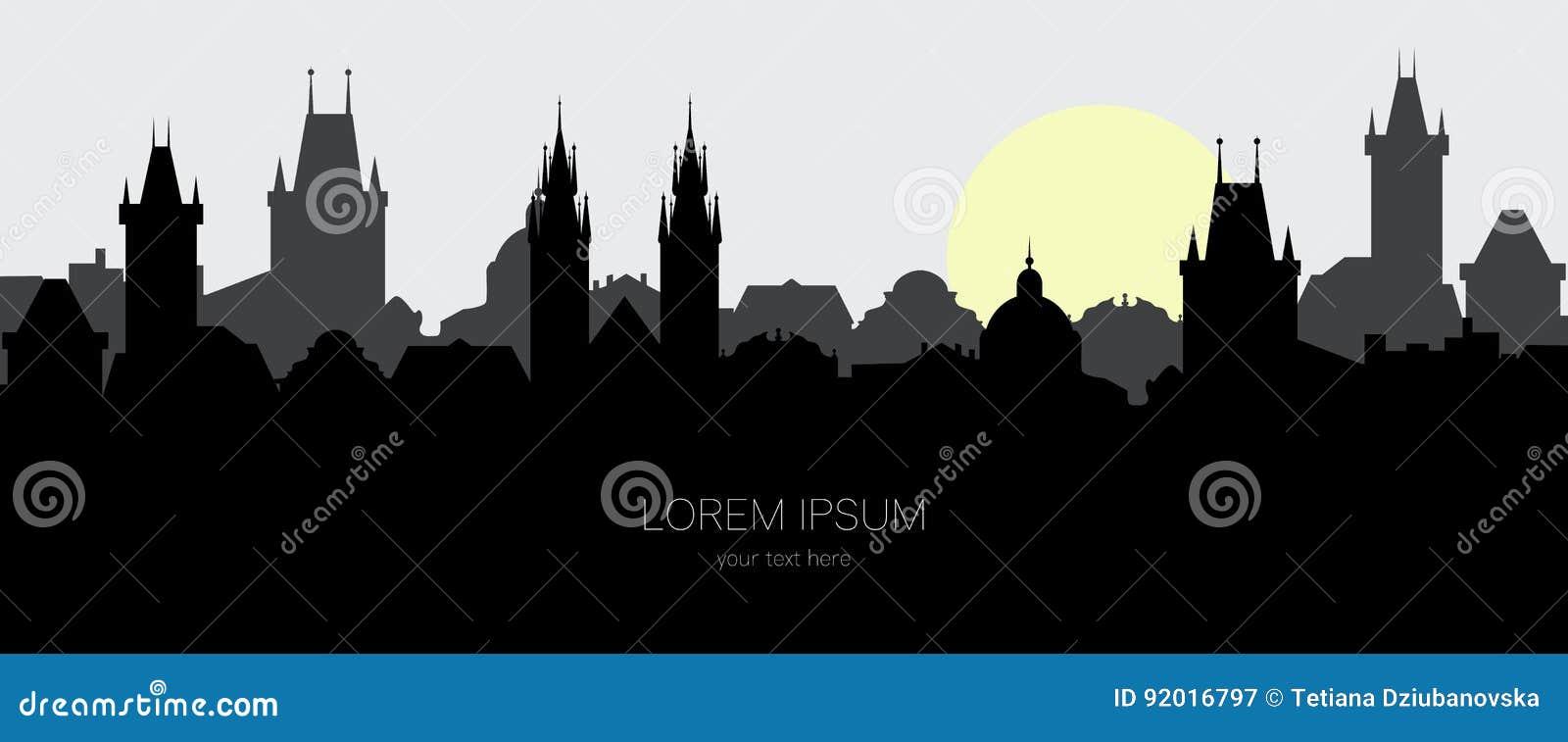 布拉格老镇剪影  都市风景在日出的欧洲城市