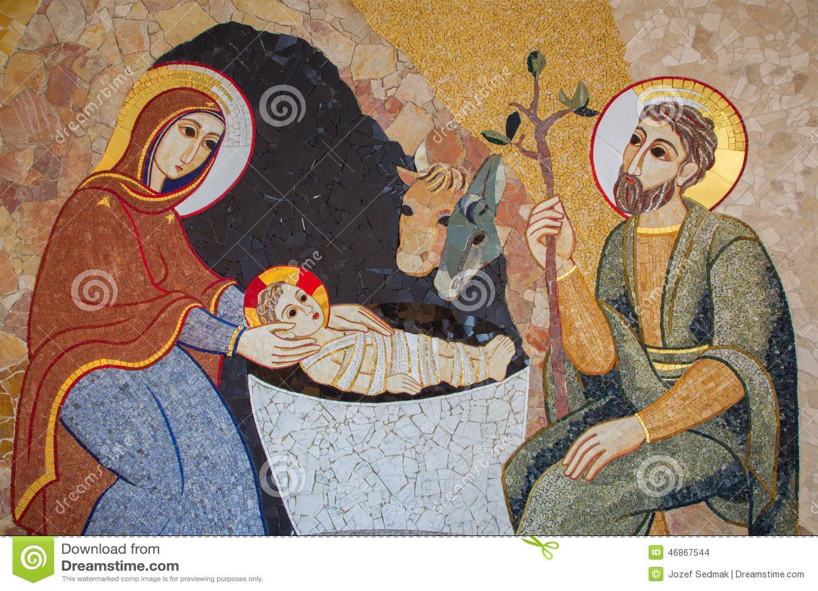 布拉索夫-诞生马赛克在阴险的人设计的圣巴斯弟盎大教堂的洗礼池的MarÂko伊冯Rupnik