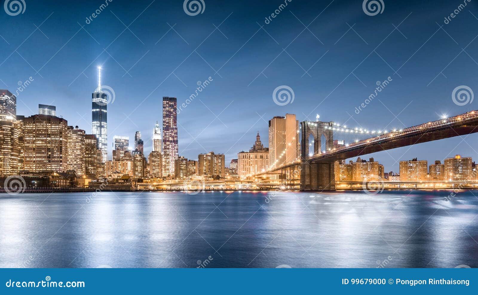 布鲁克林大桥和自由在晚上,更低的曼哈顿,从布鲁克林大桥公园的看法耸立在纽约