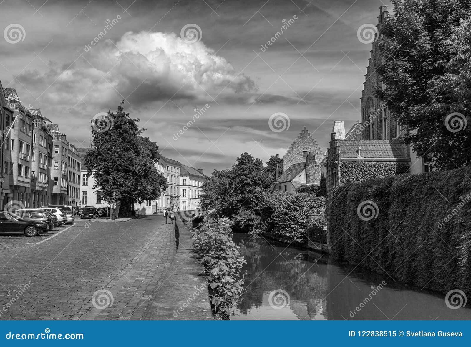 布鲁日街道 比利时 黑色白色