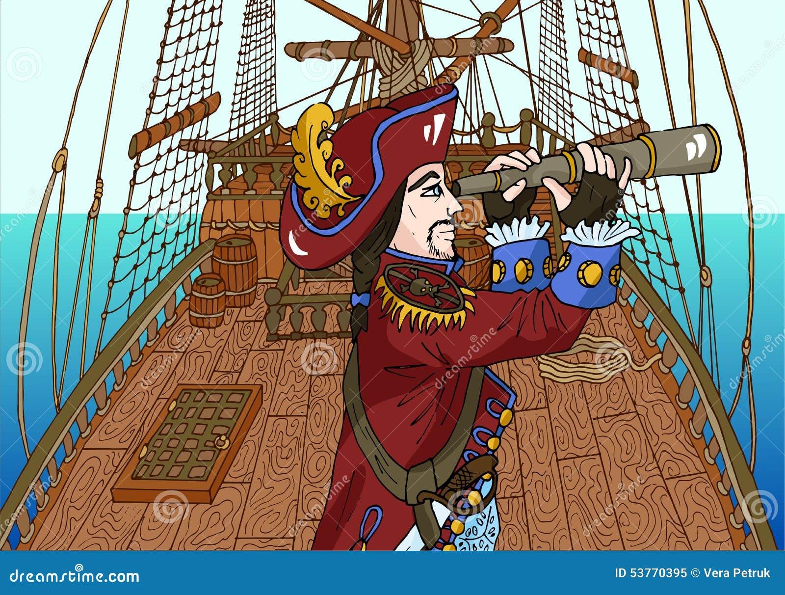 帆船甲板的黑人胡子海盗上尉