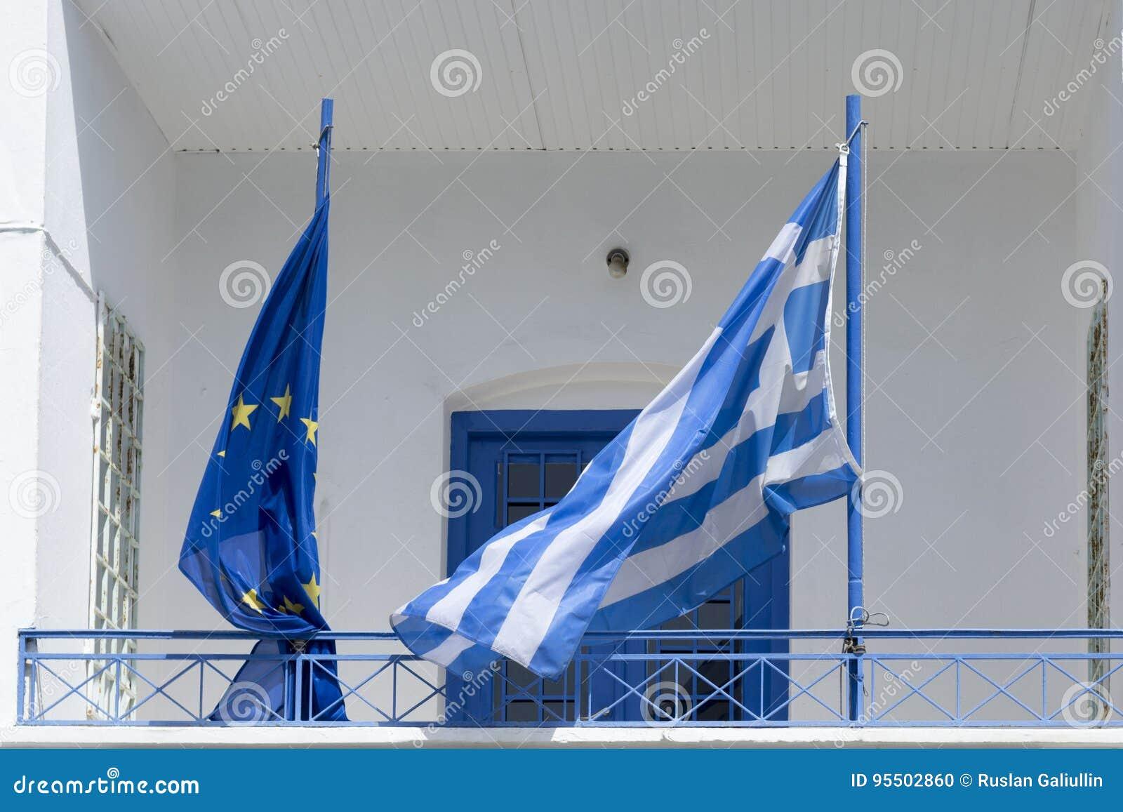 希腊和欧盟旗子