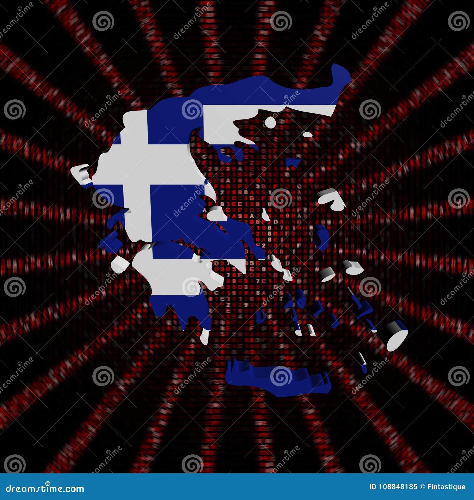 希腊在红色六角形的代码的地图旗子破裂了例证