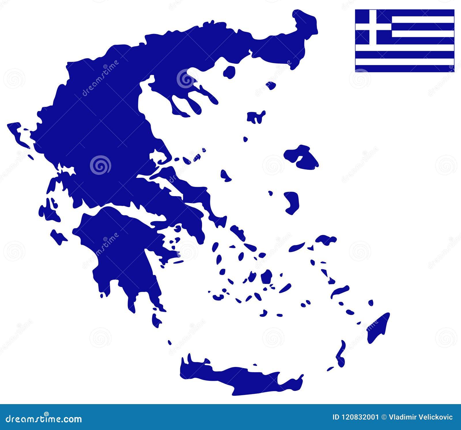 希腊地图和旗子-位于南欧的国家