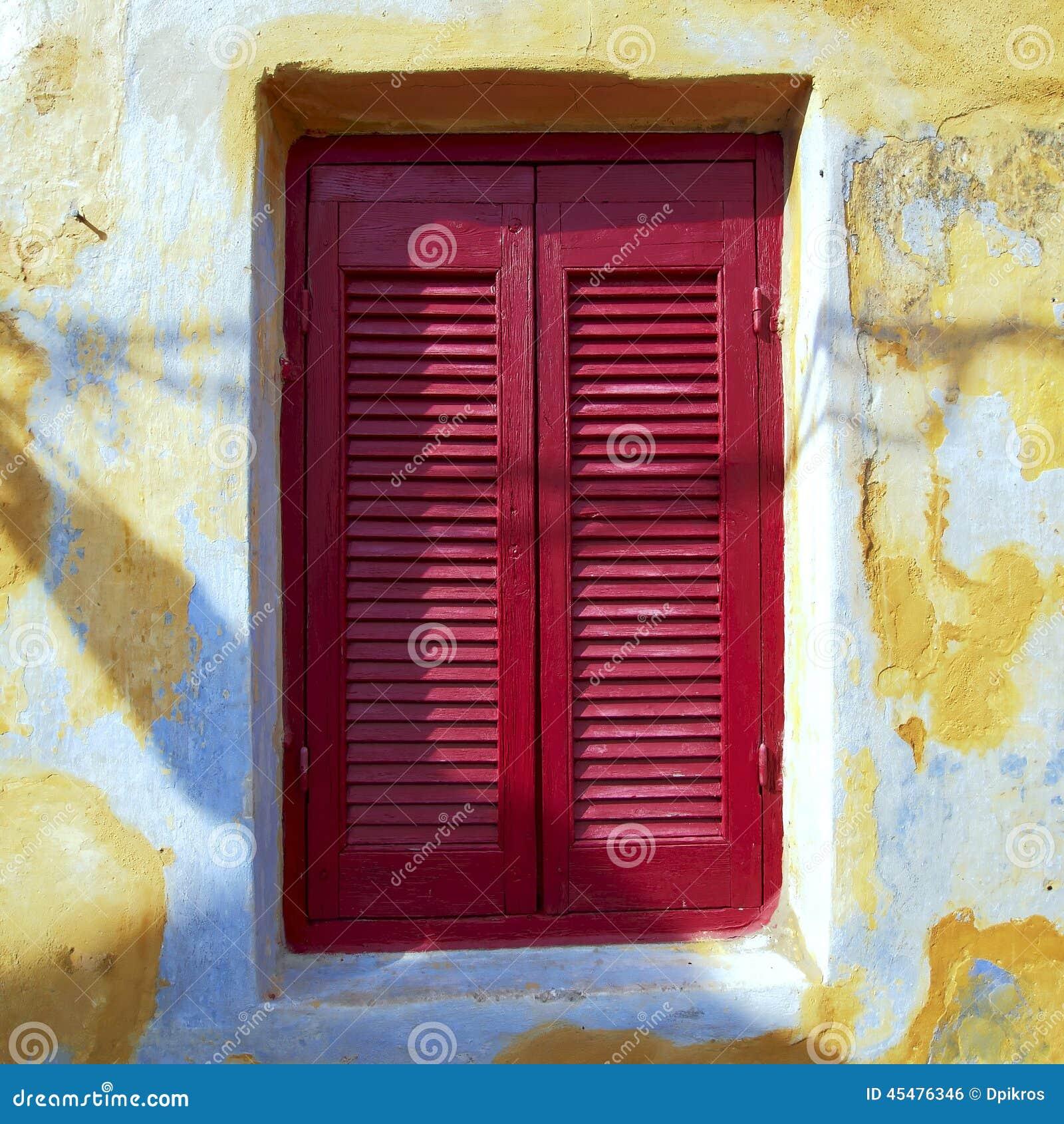 希腊,葡萄酒房子红色窗口