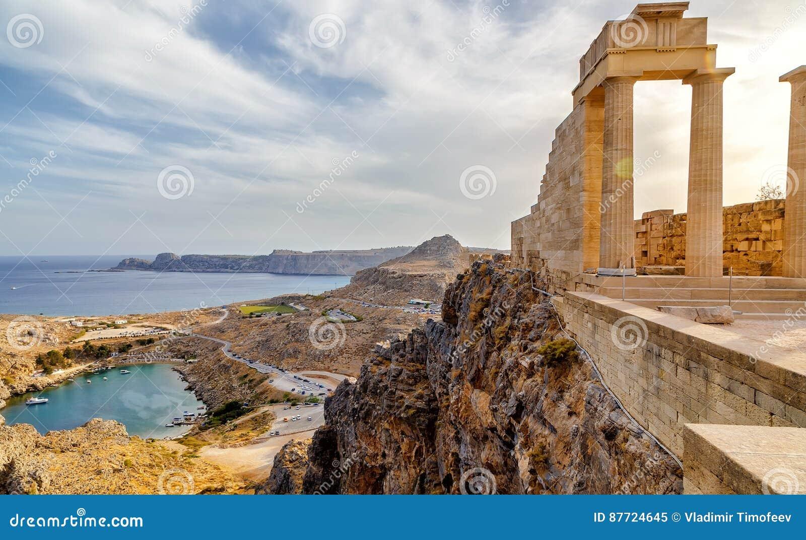 希腊 罗得斯 Lindos上城 雅典娜Lindia古庙的多立克体专栏IV世纪和BC海湾