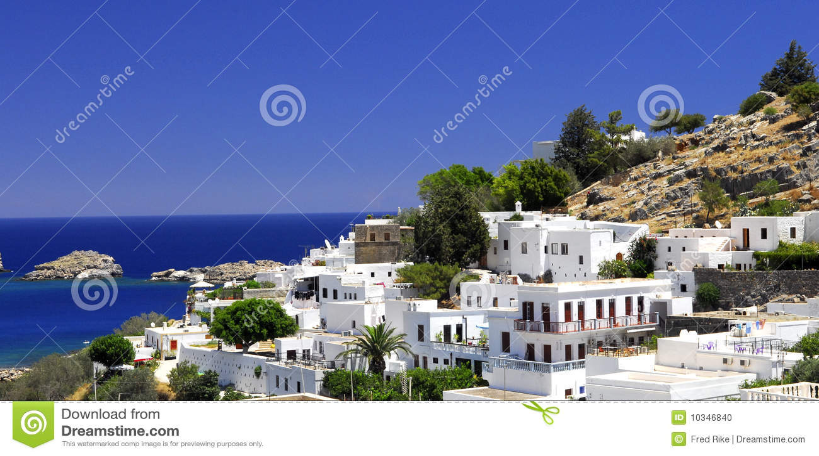 希腊lindos老城镇