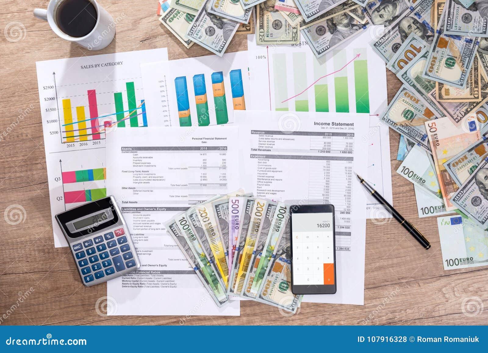 帐户年度预算在办公室 美元qand欧元