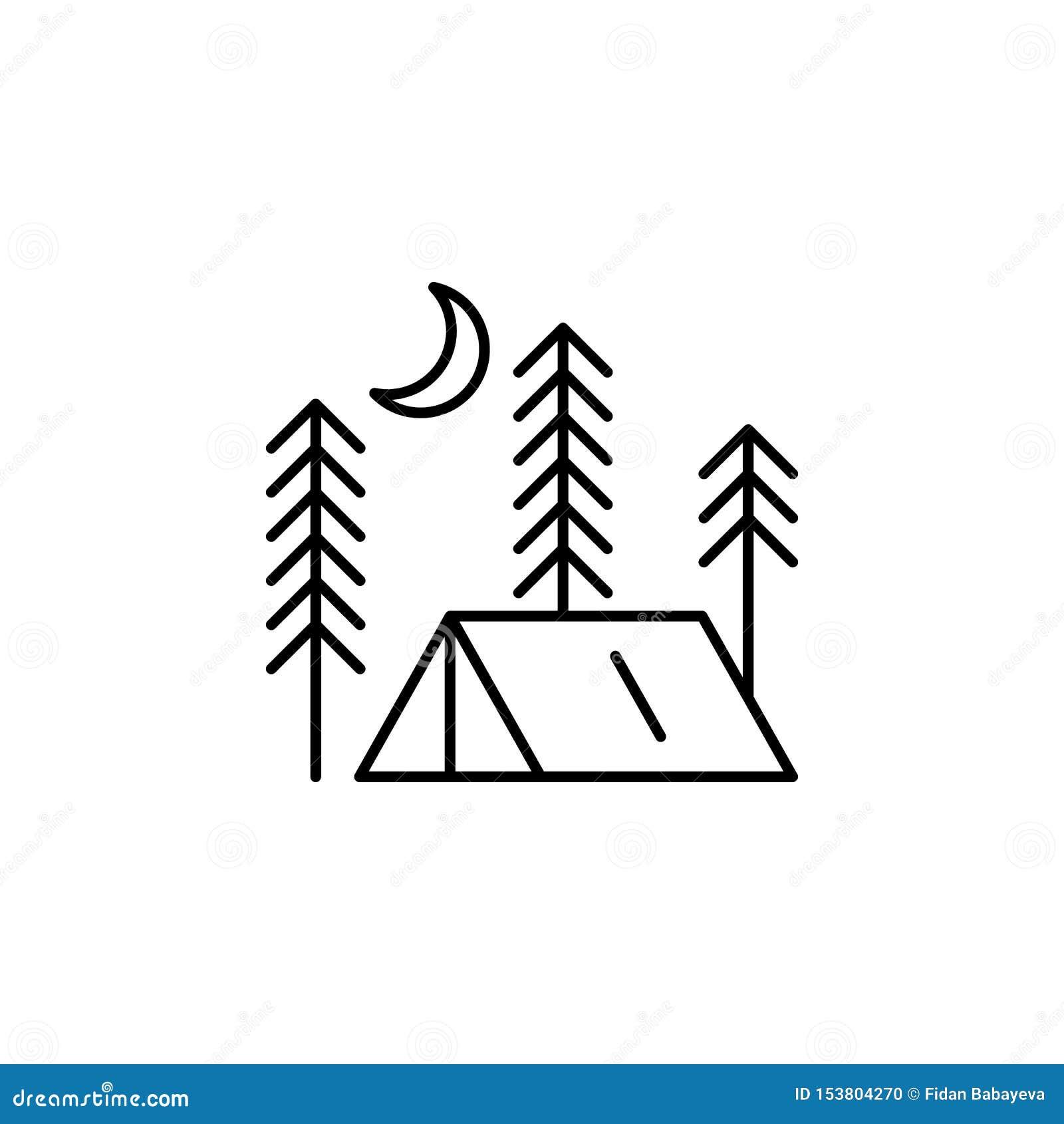 帐篷概述象 生活方式例证象的元素 r 标志和标志汇集象为