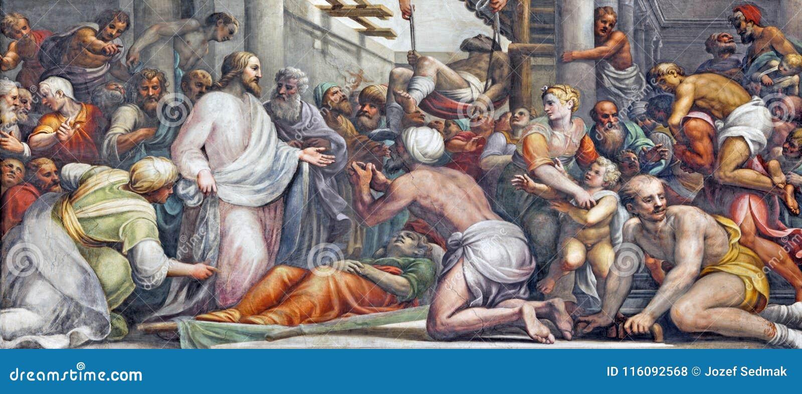 帕尔马,意大利- 2018年4月16日:在愈合的壁画耶稣在中央寺院Lattanzio甘巴拉1567 - 1573